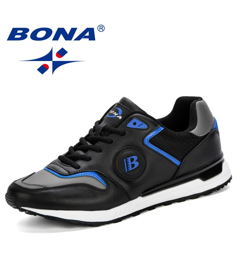 BONA New Men Shoes Summer 2019 Fashion Men Breathable Running Shoes Male Sneakers Adult Non-Slip Comfortable Vulcanize Shoes