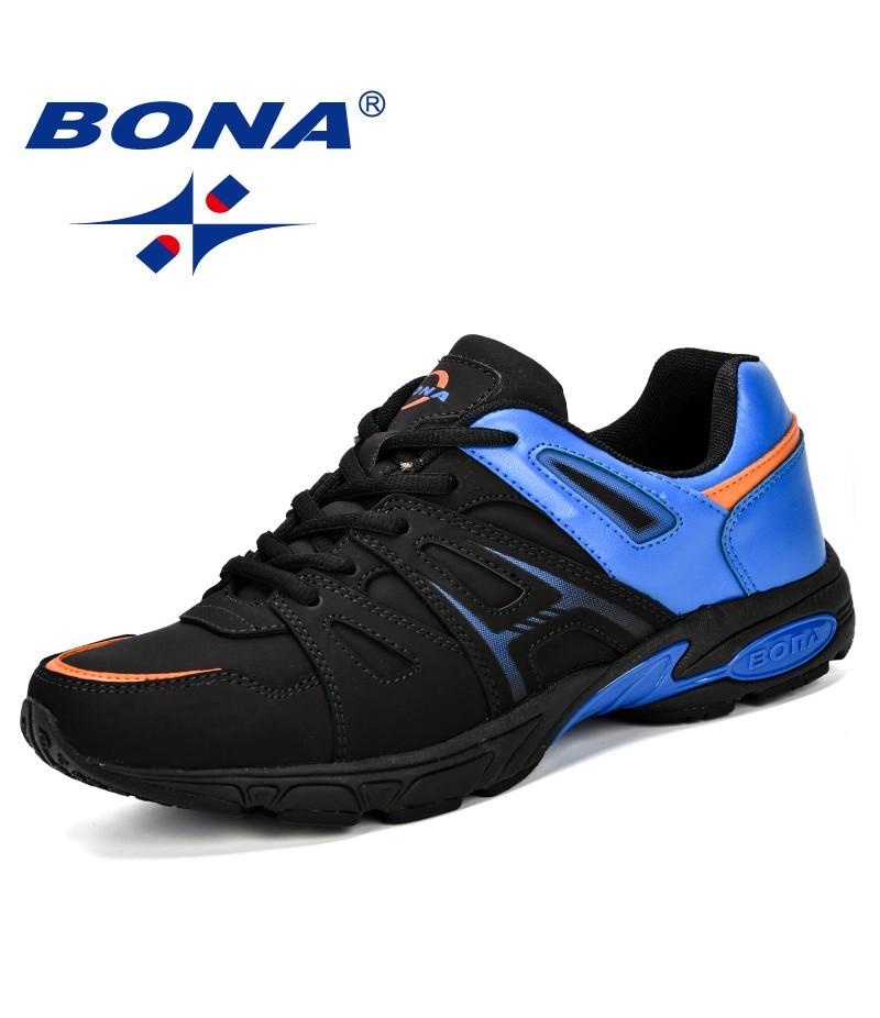 BONA Lightweight Outdoor Sports Shoes Men Sneakers Comfortable Jogging Leather Tennis Human Race Running Shoes Men Comfortable