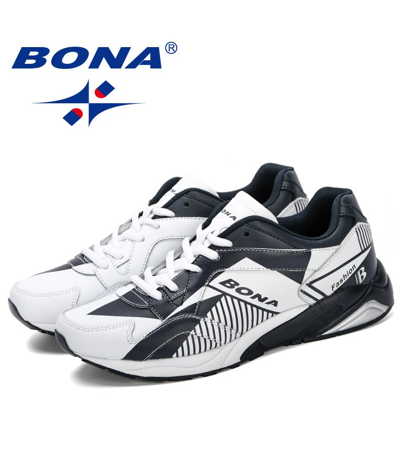 BONA 2019 New Designer Men Running Shoes Leather Sneakers Men Autumn Shoes Chaussures Hommes Zapatos Outdoor Jogging Shoes Man
