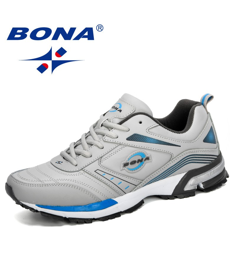 BONA 2019 New Sneaker Lace-up Men Running Shoes Sports Breathable Men's Walking Shoes Athletic Erkek Spor Ayakkabi Comfortable