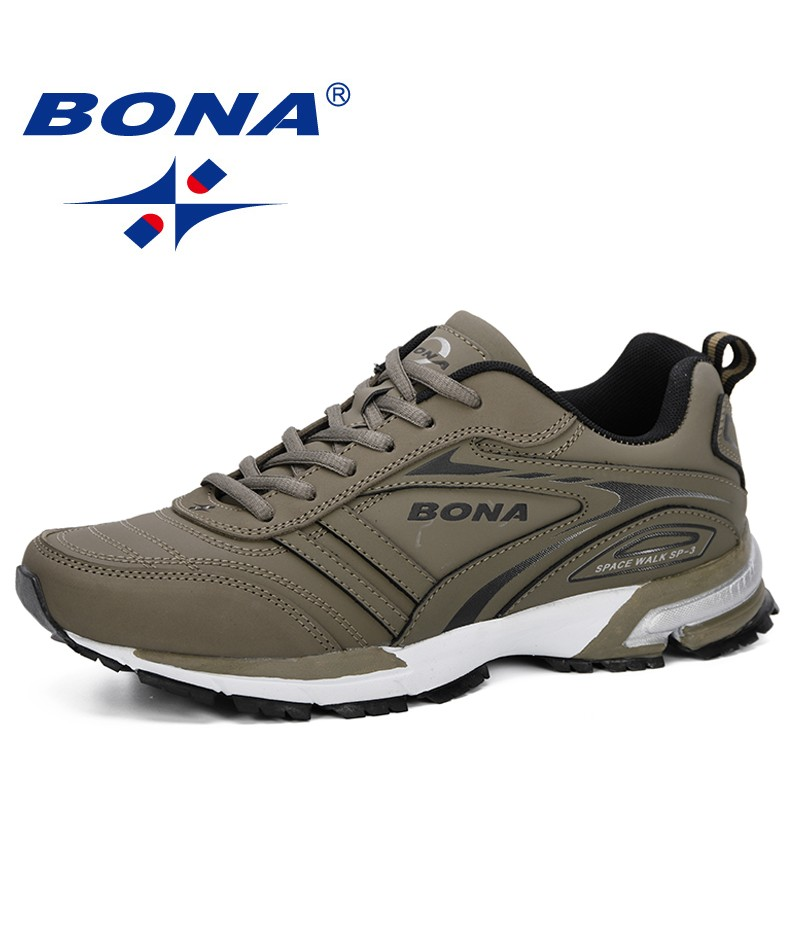 BONA 2019 New Arrival Men Jogging Shoes Outdoor Men Running Shoes Brand Sneakers For Male Shoes Leather Male Sport Shoes Comfy