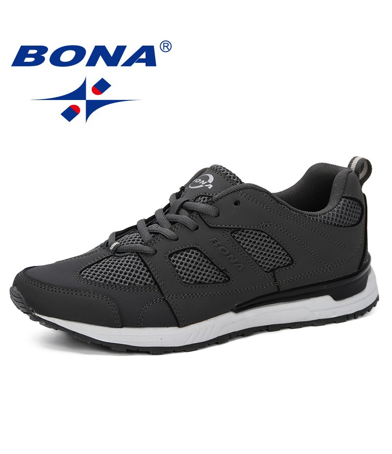 BONA 2019 Men Fashion Solid Color Breathable Mesh Cross Tied Shoes Shoes New Zapatillas Hombre Casual Male Shoes Sneakers Trendy