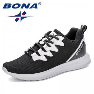 BONA 2019 Fashion Men Vulcanized Shoes Spring Sneakers Lace-Up Men Casual Shoes Men Walking Shoes Men's Flat Leisure Footwear