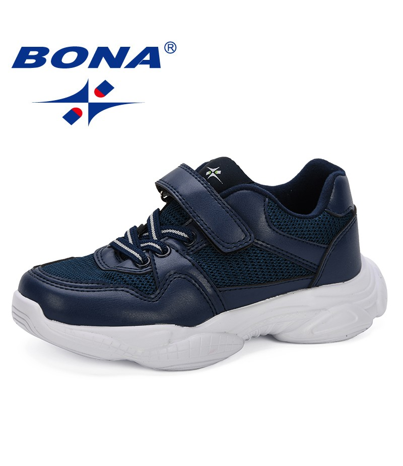 BONA 2019 Light Weight Kids Sports Running Shoes Hook & Loop Fashion Boys Girls Sneakers Footwear Children Casual Shoes Mesh Air