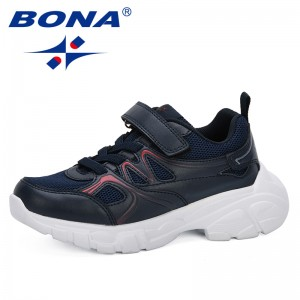 BONA 2019 Children Shoes Kids Sneakers Boys Breathable Running Shoes Mesh Casual Outdoor Sport Shoes Non-Slip Kids Walking Shoes