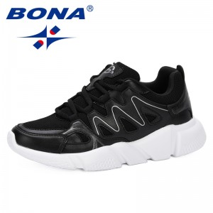 BONA 2019 Fashion Casual Shoes Woman Comfortable Breathable Mesh Flats Female Platform Sneakers Chaussure Femme Leisure Footwear
