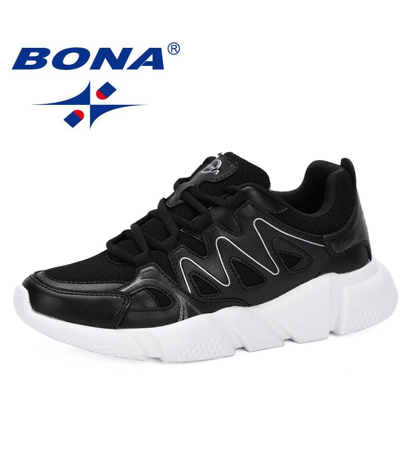 BONA 2019 Fashion Casual Shoes Woman Comfortable Breathable Mesh Flats Female Platform Sneakers Chaussure Femme Leisure Footwear
