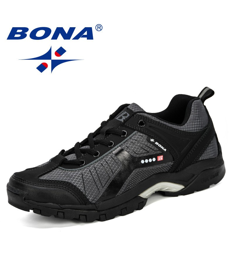 BONA 2019 New Style Hiking Shoes Lace Up Men Sport Shoes Outdoor Jogging Trekking Sneakers Man Wear-Resistant Travel Shoes Comfy