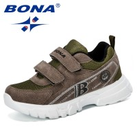 BONA 2019 New Fashion Style Children Leather Shoes Outdoor Sport Sneakers Kids Mixed Color Casual Shoes Boys Leisure Footwear