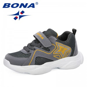 BONA 2019 New Designer Children's Mesh Sneakers For Boys Girls Hook & Loop Kids Sport Running Footwear Dress School Trainer Mesh