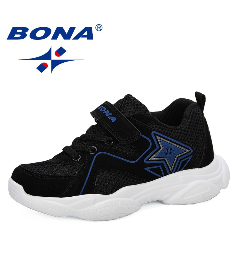 BONA 2019 New Designer Children's Mesh Sneakers For Boys Girls Hook & Loop Kids Sport Running Footwear Dress School Trainer Mesh