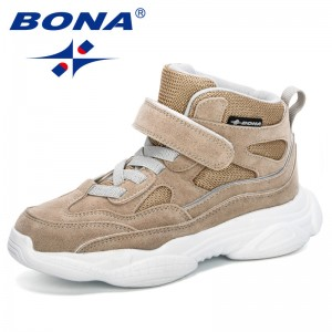 BONA 2019 New Arrival Spring Autumn Boys Fashion High Top Sneakers Children Breathable Shoe Girls Sport Trainer Outdoor Footwear