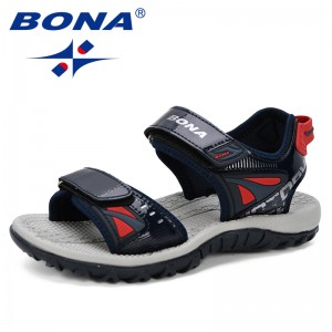 BONA 2019 New Popular Big Children Sandals Summer Child Beach Sandals Casual Fashion Soft Flat Boys Motion Shoes Comfortable