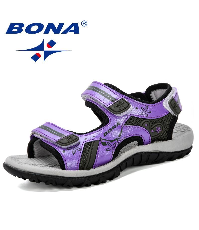 BONA 2019 New Arrival Children Sandals Summer New Fashion Boy Student Shoes Anti-Slip Soft Bottom Girls Open Toe Sandals Comfy