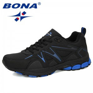 BONA 2019 New Designer Running Shoes Men Sports Shoes Men Adult Cow Split Trainer Zapatillas Hombre Deportiva Sneakers For Man
