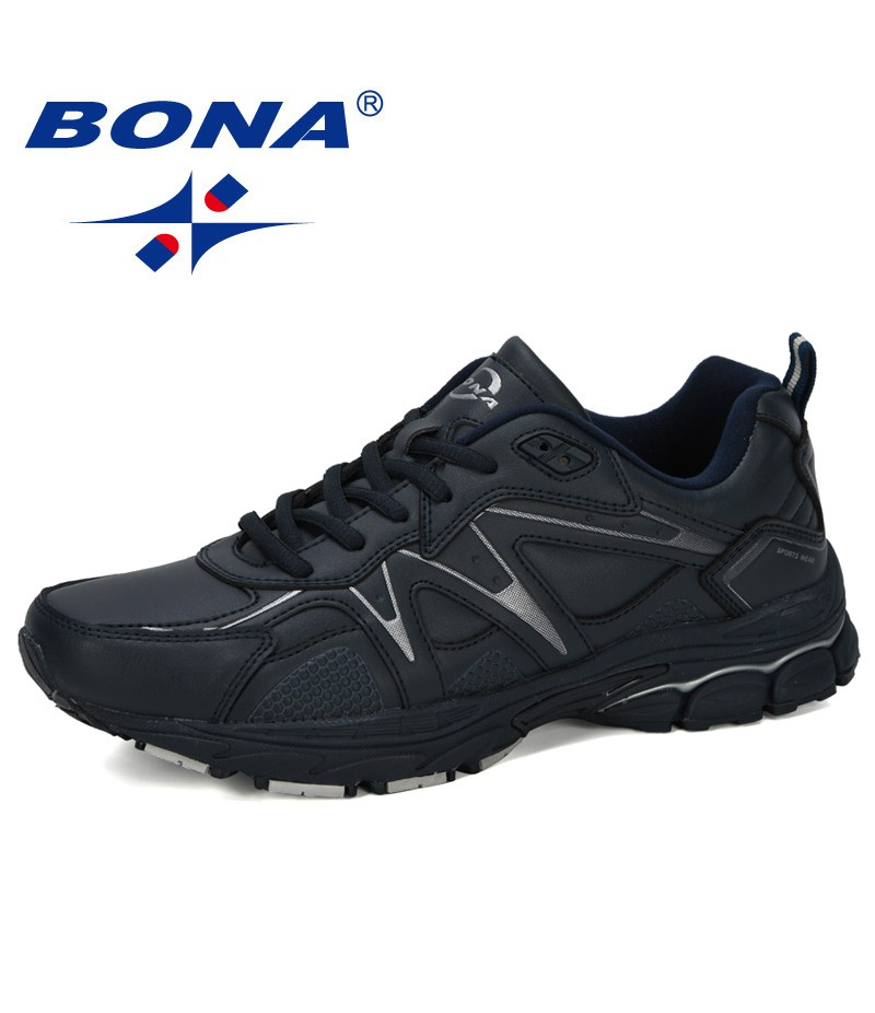 BONA 2019 New Designer Running Shoes Men Sports Shoes Men Adult Cow Split Trainer Zapatillas Hombre Deportiva Sneakers For Man