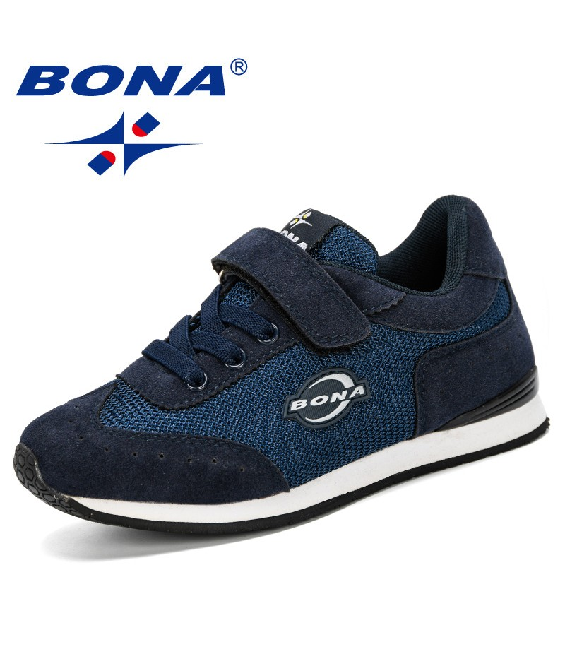BONA 2019 New Style Kids Running Shoes Fashion Breathable Mesh Sport Sneakers Boys School Shoes Children Walking Shoes Trendy