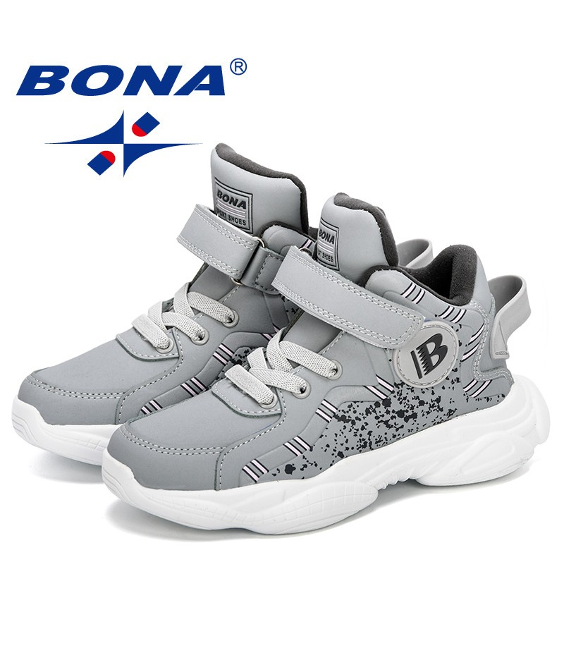 BONA 2019 New Kids Shoes Fashion Casual Breathable High Top Boys Shoes Non-Slip Light Children Sneakers Comfortable Girls Shoes
