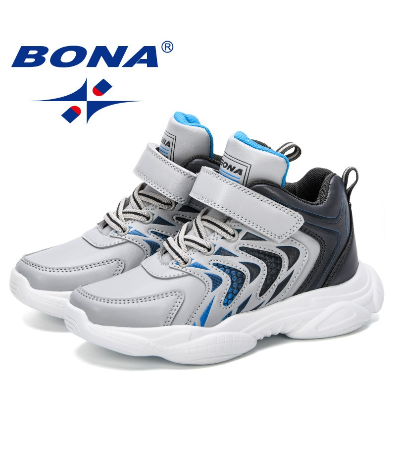 BONA 2019 Children Casual Shoes Elastic Lace Light Weight Kids Shoes Boys Girls Sneakers Breathable Sport Shoes High Upper Shoes