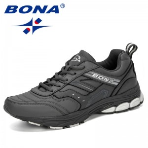BONA 2019 New Classics Style Outdoor Men Sneakers Shoes Sport Mens Trainers Running Shoes For Men Leather Athletic Shoes Comfy