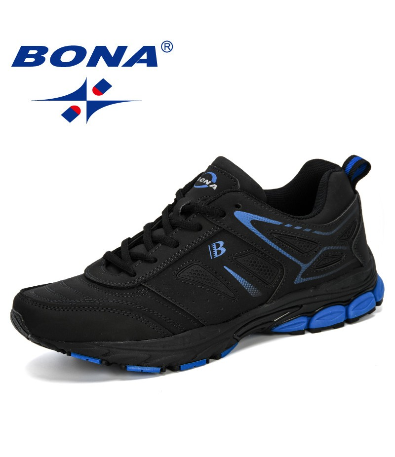 BONA 2019 New Korean Version Trend Men's Shoes Wild Sports Casual Shoes Men's Breathable Running Shoes Leather Athletic Shoes
