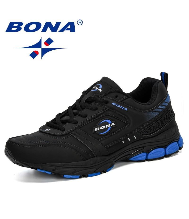 BONA 2019 Men Summer Casual Running Shoes Leather Trainers Zapatillas Sport Shoes Male Outdoor Walking Sneakers Man Comfortable