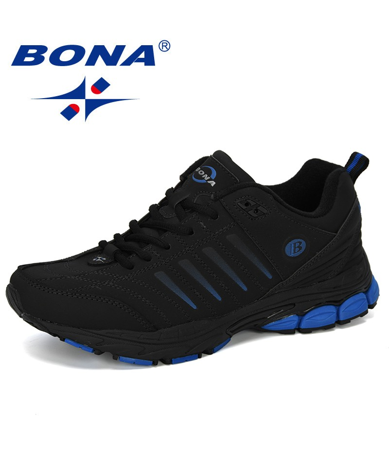 BONA 2019 New Designer Men Sneakers Outdoor Walking Sport Shoes For Male Lace-up Running Shoes Men Cow Split Footwear Trendy
