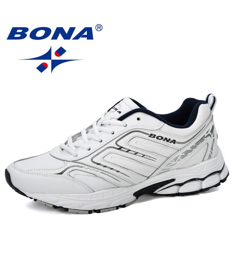 BONA 2019 New Designer Running Shoes Cow Split Men Sneaker Lace-Up Outdoor Trainning Jogging Sport Shoes For Man Trendy Comfy