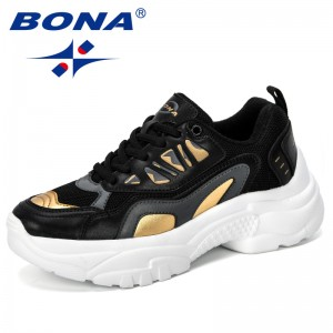 BONA 2019 New Designer Women Sneakers Vulcanized Shoes Ladies Casual Shoes Lightweigh Breathable Flat Shoes Tenis Feminino Comfy