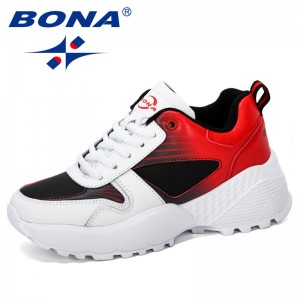 BONA 2019 New Arrival Casual Shoes Female Fashion Sneaker Lace Up Leisure Footwear Women Vulcanize Shoe Platform Outdoor Trendy