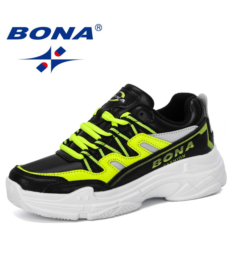 BONA 2019 New Designer Women Walking Shoes Outdoor Sneakers Cushioning Height Platform Breathable Microfiber Baskets Femme Comfy