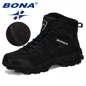 BONA 2019 New Designers Nubuck Hiking Boots Krasovki Tactical Shoes Men Outdoor Non-Slip Hiking Shoes Man Mountain Shoes Trendy