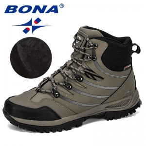 BONA 2019 New Designer Hiking Shoes Men Cow Split Plush Boots Man Mountain Climbing Shoes Outdoor Sport Shoes Trekking Sneakers