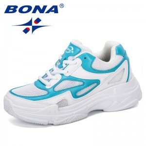 BONA 2019 New Designer Platform Sneakers Shoes Women Breathable Casual Shoes Woman Fashion Height Increasing Ladies Shoes Trendy