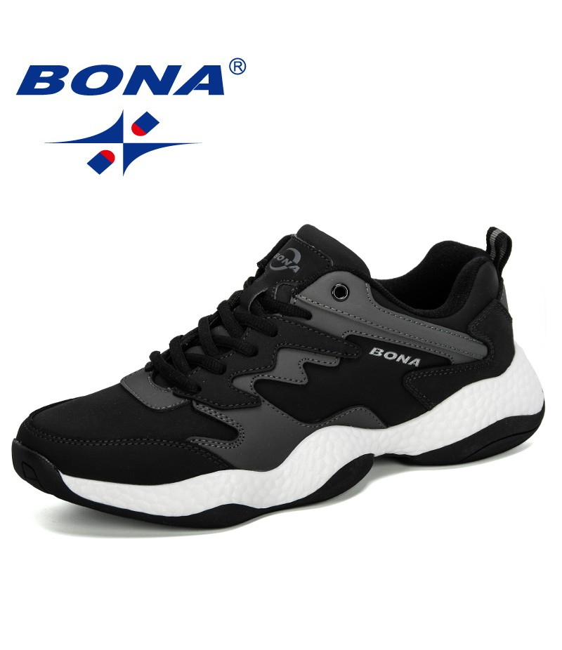BONA 2019 New Men Chunky Sneakers Lace-Up Flat Man Casual Shoes Platform Stylish Mixed Color Breathable Male Tenis Footwear