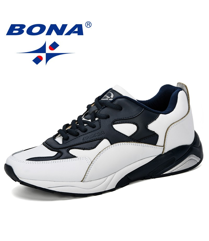 BONA 2019 New Classics Style Mens Sneakers Shoes Man Big Size Running Shoes Leather Men's Shoes Sport Outdoor Jogging Footwear