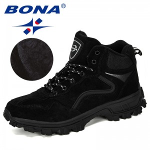 BONA 2019 New Designers Suede Mens Hiking Shoes Winter Climbing Boots Man High Top Trekking Hunting Shoes Trainers Plush Shoes