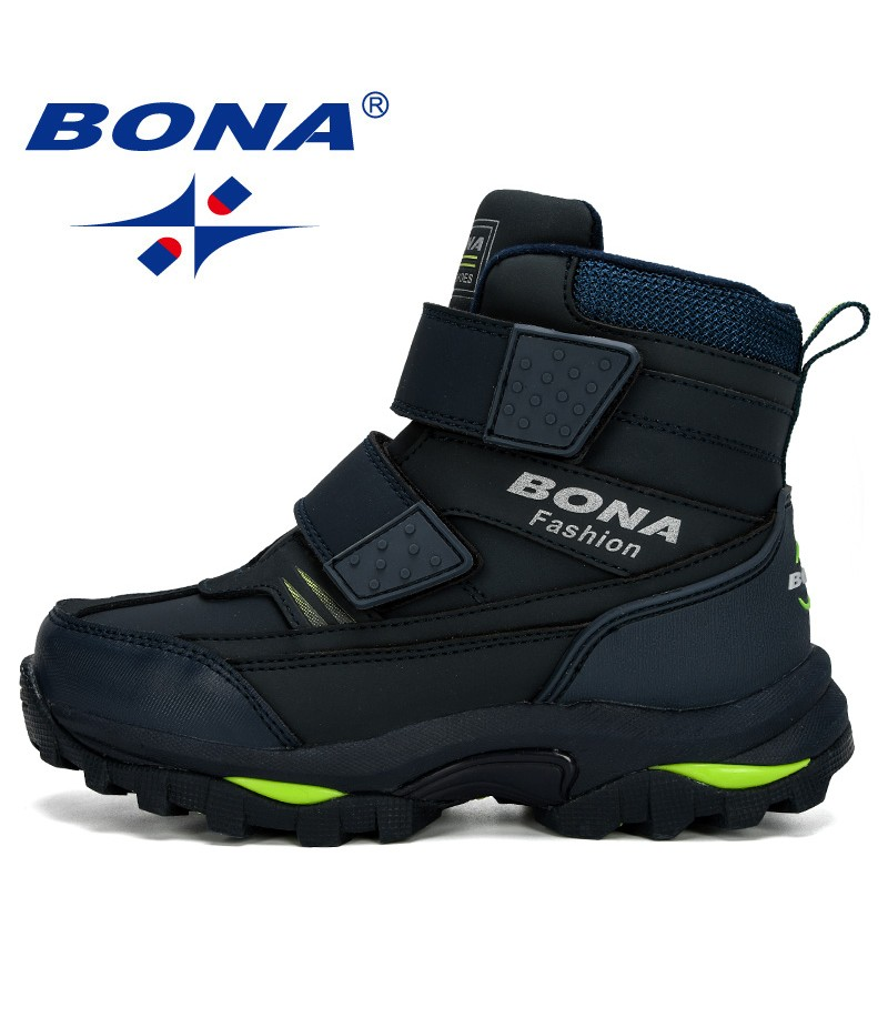 BONA 2019 New Popular Ankle Boots Boys Children Motorcycle Hook and Loop Anti-slip Outdoor Hiking Boots Boy's Winter Footwear