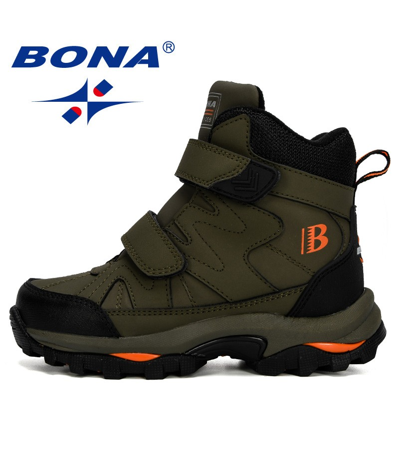 BONA 2019 New Popular Style Winter Children's Snow Boots Boys Girls Fashion Waterproof Warm Shoes Kids Thick Mid Non-Slip Boots