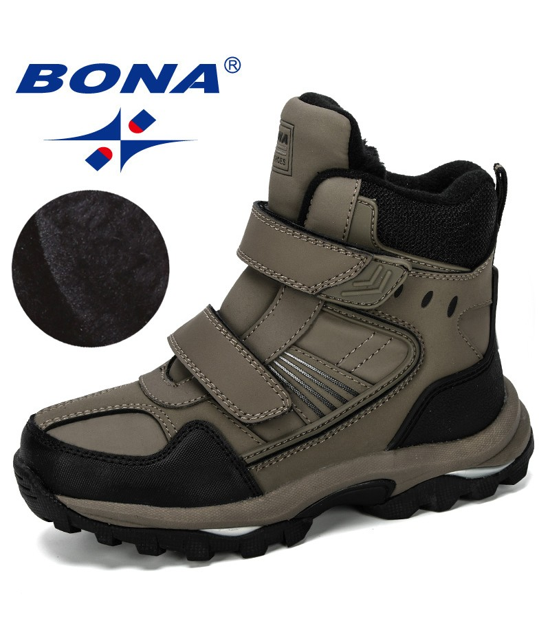 BONA 2019 New Designer Popular Children Snow Boots Warm Winter Boots Fashion Plush Kids Sneakers Boys Cow Split Boots Trendy