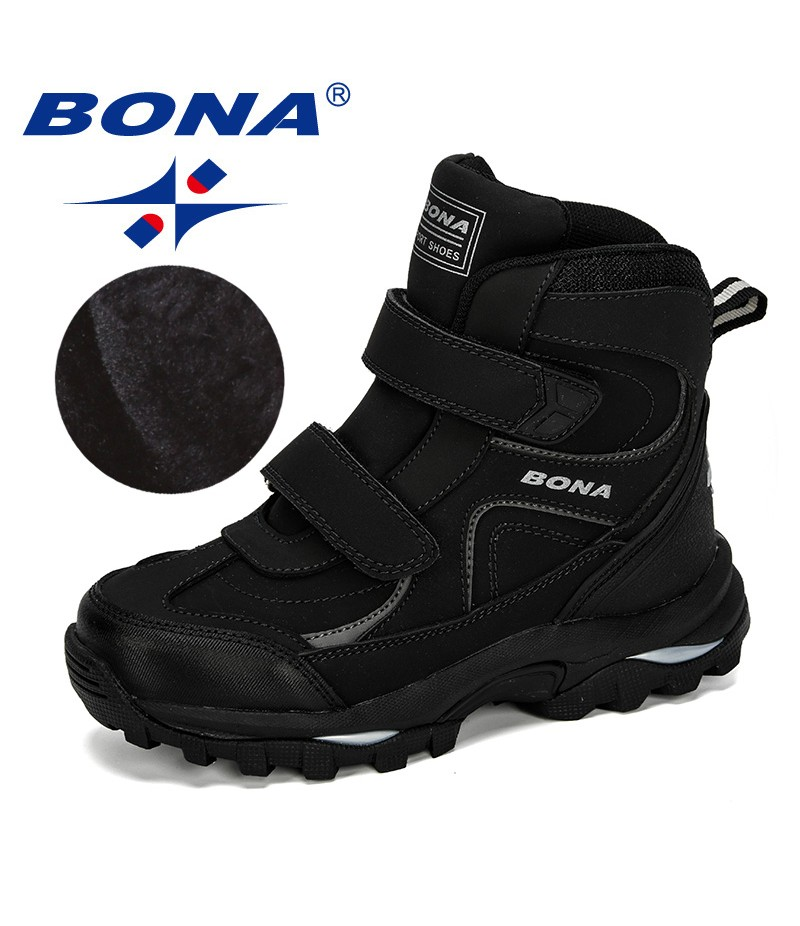 BONA 2019 New Style Winter Boys Boots Children Shoes For Kids Sneakers Leather Boots Plush Warm Flat Ankle Boots Comfortable