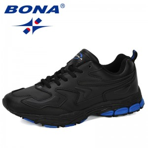 BONA 2019 New Designer Men Sports Shoes Cow Split Running Shoes Comfortable Wearable Casual Sneaker Outdoor Jogging Shoes Trendy