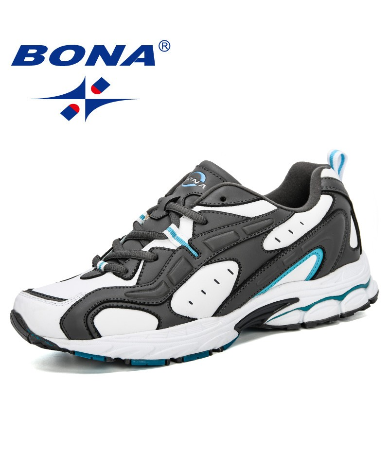 BONA 2019 New Style Sports Shoes Men Sneakers Lace-Up Cow Split Breathable Walking Shoes Outdoor Running Shoes Man Jogging Shoes