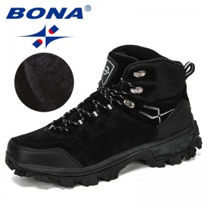 BONA 2019 New Designers Genuine Leather Hiking Shoes Winter Sneakers Men Mountain Man Tactical Hunting Footwear Plush Warm Shoes