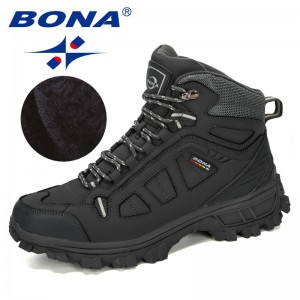 BONA 2019 New Designers Cow Split Warm Boots Men Fashion High Top Sneakers Male Winter Botas Hombre Boots Snow Shoes Comfortable