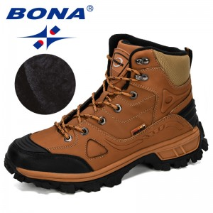 BONA 2019 New Designers Genuine Leather Hiking Shoes Men Winter Outdoor Mens Sport ShoesTrekking Mountain Athletic Shoes Man