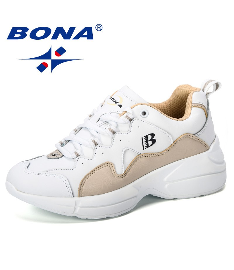 BONA 2019 New Fashion Style Platform Sneakers Ladies Brand Chunky Causal Shoes Woman Leather Leisure Shoes Chaussure Femme Comfy