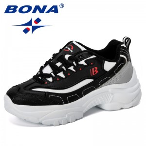BONA 2019 New Designer Popular Casual Shoes Women Outdoor Sneakers Breathable Mesh Walking Shoes Ladies Lace Up Flat Shoes Woman