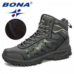 BONA 2019 New Designers Leather Training High Top Boots Men Outdoor Man Camping Hiking Trekking Non-Slip Wear Resistant Footwear