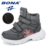 BONA 2019 New Designer Kids Snow Boots Sport Children Shoes Boys Sneakers Fashion Hook & Loop Leather Child Shoes High Top Comfy